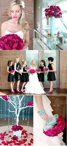 Magenta wedding...All black dresses with Magenta accents everywhere.  Flowers, ribbons, sashes.