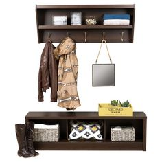 Perfect placed in your entryway or mudroom, this essential storage set pairs classic style with versatile appeal. Use the bench to stow shoes, throws, and books, then hang coats and set out-the-door essentials in the complementing wall rack. Furniture, Room Design, Interior, Cute Furniture, Storage Bench, Space Decor, Home Decor, House Interior, Wall Racks