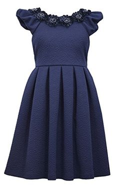 8da550f39cb Girls Plus Navy-Blue Floral Neckline Box Pleat Jacquard Fit Flare Dress