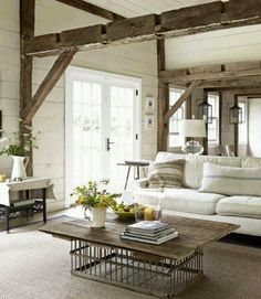 Rustic natural living room- or this for a coffee table.