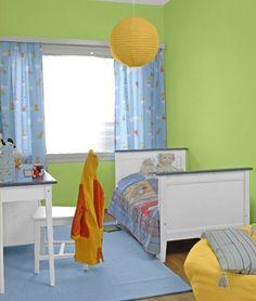 kinderzimmer in grün/sky/honey | wandfarben | pinterest - Kinderzimmer Grun Orange