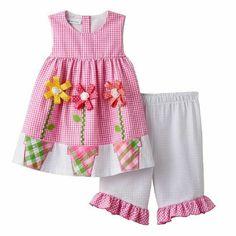 2b20c428e0e7 Bonnie Jean Girls Spring Easter Pink Flower Pot Seersucker Playwear Outfit  Sz 5  BonnieJean