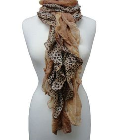 Take a look at this Brown Leopard Ruffle Scarf by The Alabama Girl on #zulily today! $10 !!