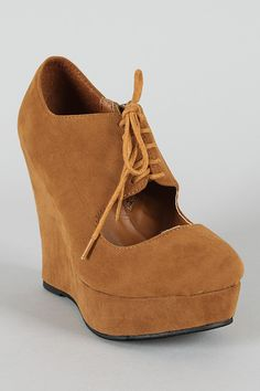 River-26 Cut Out Lace Up Oxford Wedge Bootie $26.50