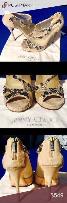 Spotted while shopping on Poshmark: Jimmy Choo Quinze Jewelled Beige Suede Mesh Bootie! #poshmark #fashion #shopping #style #Jimmy Choo #Shoes