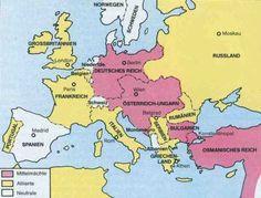 De Bondgenootschappen in WOI, Oostenrijk tegen Servie, Duitsland ging Oostenrijk steunen. Rusland steunde Servie, Frankrijk steunde Rusland, Duitsland ging door Belgie terwijl die neutraal wilde blijven, en Engeland ging BE steunen. Dus; De Centralen waren; Duitsland, Oostenrijk, Bulgarije, Turkije. De Geallieerden; Rusland, Frankrijk, Italie, Servie, Belgie, Groot Brittanie, Ierland, Portugal, Griekenland. De Neutralen; Nederland, Spanje, Denemarken, Zwitserland, Noorwegen en Zweden.