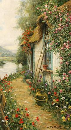 Oil Painting By Louis Aston Knight - Art Collection Watercolor Art, Knight Art, Art Painting, Landscape Paintings, Painting, Beautiful Paintings, Scenery Paintings, Cottage Art, Beautiful Art