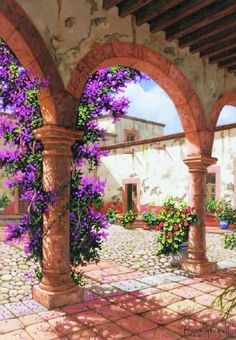 Watercolor Landscape, Landscape Art, Pintura Colonial, Diy Garden Fountains, Outdoor Buildings, Mexico Art, Hacienda Style, Country Landscaping, Flower Art