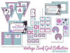 Vintage Surfer Girl Party Collection - Girls Birthday Party - DIY PRINTABLE FILES. $36.00, via Etsy.
