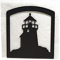 Add decorative functionality to your kitchen with our Wrought Iron Napkin Holder. Featuring a Lighthouse silhouette, this napkin holder will look great on your table or counter top