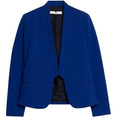 Mango Inverted Lapels Blazer, Bright Blue ($47) ❤ liked on Polyvore featuring outerwear, jackets, blazers, slim fit blazer, bright blue blazer, short blazer, long sleeve jacket and short jacket