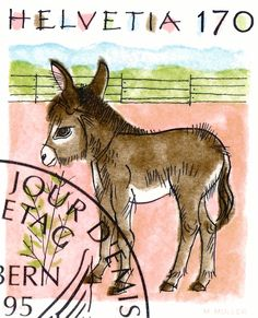 1995 Switzerland Donkey Postage Stamp,donkey,mule,switzerland,swiss,piatti,postage,stamp,mail,fauna,illustration,ephemera,bern,farm,nature,animal,switzerland stamp,cute animal