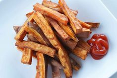 French Fries  Every kid adores french fries, but they're far from healthy, what with all the oil they're dunked in to crisp up. Rehabilitate this junk food staple by skipping the frying pan and baking fries in the oven. Plus, using sweet potatoes adds extra fiber and beta carotene!
