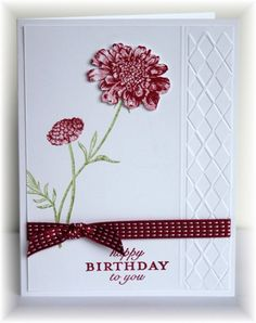 Scrappin' and Stampin' in GJ Rich Razzleberry, partial embossing with two lines of straight embossing with stylus. One flower fussy cut and attached with Dimensionals