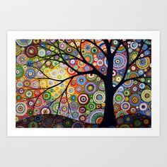Creative Beautiful Modern Art Canvas Wall Art - Abstract Art Watercolor Painting Landscape Tree Canvas Print - of the month illustration Tree Canvas, Canvas Wall Art, Canvas Prints, Art Prints, Dot Painting, Watercolor Paintings, Original Paintings, Modern Paintings, Painting Canvas