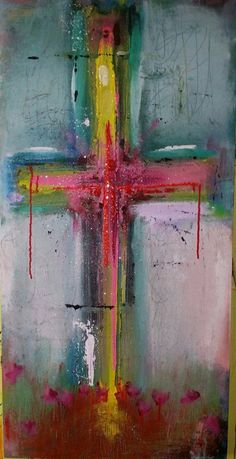 CROSS - Finding Him In You - Original Abstract Acryllic painting on canvas Christian Paintings, Christian Art, Cross Art, Cross Paintings, Scripture Art, Religious Art, Painting Inspiration, Art Lessons, Canvas Art