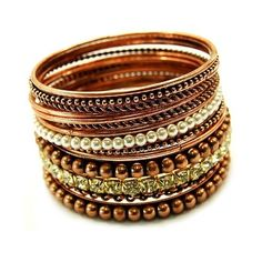 Genia's Copper, Gold & Pearl Stackable Bangle Set