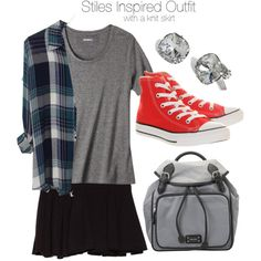 """Stiles Inspired Outfit with a Knit Skirt"" by veterization on Polyvore"