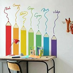 Wall Decals For Toddler Kids – The Treasure Thrift Wandtattoos Für Kleinkinder – The Treasure Thrift Kids Room Murals, Kids Room Wall Decals, Room Kids, Paintings For Kids Room, Childrens Wall Murals, Playroom Wall Decor, Preschool Classroom Decor, Classroom Walls, Creative Wall Painting