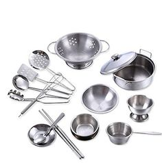 Remeehi 16 Pieces Stainless Steel Pots and Pans Kitchen Cookware Playset for Kids Kitchenware Toys *** Read more reviews of the product by visiting the link on the image.