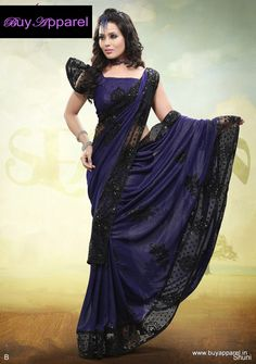 Beautiful navy blue and black saree. I love the black border so very much <3