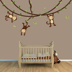 Beautiful babyzimmer gestalten wandgestaltung affen zweige holzboden