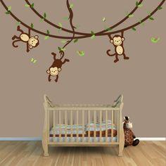 babyzimmer gestalten wandgestaltung affen zweige holzboden Baby Room Wall Decor, Baby Room Themes, Nursery Room, Boy Room, Kids Room, Medical Office Decor, Preschool Decor, Kids Wall Murals, Baby Dino