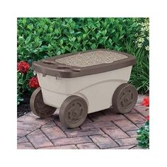 details about garden scooter storage rolling seat tan