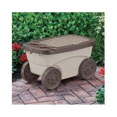 Garden Seat Scooter Rolling Outdoor Storage Bench Portable Gardening  Supplies