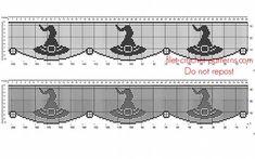 Free crochet filet pattern Halloween border with witch hat - free filet crochet patterns download