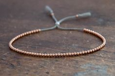 Solid 14k Rose Gold Beaded Friendship Bracelet delicate