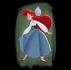 Ariel (Drawing by MarcianoIlustrador Disney Artwork, Disney Fan Art, Disney Style, Disney Love, Disney Magic, Disney Drawings, Disney Princess Quotes, Disney Songs, Disney Quotes
