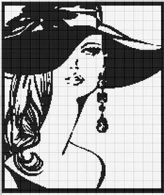 0 point de croix femme chapeau et boucle d'oreille - cross stitch girl hat and earrings