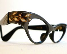 Gilded White Vine Cat Eye Eyeglass Frames France by BibbysRocket, $134.00