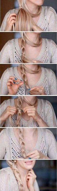 Rope braided hair.