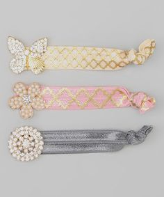 Look at this #zulilyfind! Ivory Butterfly Hair Tie Set by Charlotte Rose Couture #zulilyfinds