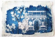 Midnight Garden collage, cyanotype and thermofax printing by Velvet Moth Studio