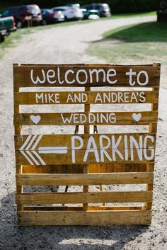 Great Idea to show where to park. We could even put it in the driveway so people cant drive any further up the driveway. Pinned by Michael Eric Berrios Wedding DJMC #weddingdj #destinationdj  http://TheBestWeddingDJEver.com