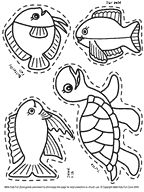 Fish and sea creatures sticker set for children to color.