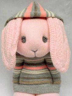 Little Sockamajig Bunny wearing a hoodie- sock bunny with hoodie Sock Dolls, Doll Toys, Baby Dolls, Handmade Stuffed Animals, Sewing Stuffed Animals, Sock Bunny, Bunny Rabbit, Sock Monster, Sock Crafts