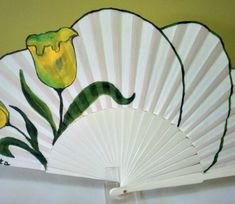 Tulipanes Amarillos Hand Fan, Fans, Hand Painted, Painting, Yellow Tulips, Painted Fan, Hand Fans, Frida Kahlo, Footwear