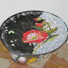 Eggshells mosaic. Creative mosaic, diy, home decor, artwork, colorful, flower pattern, design