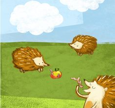 Hedgehogs pencilsketch digitally coloured Print by puikeprent