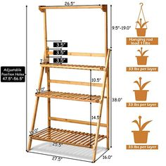 Giantex Bamboo Hanging Plant Stand Foldable Flower Pot Organizer Display Storage Rack Planter Shelves Potted Holder Garden Rack Decorative Stand for Indoor Outdoor Patio Lawn Garden Balcony Plant Ladder, Wood Ladder, Ladder Bookcase, Bamboo Plants, Outdoor Plants, Outdoor Plant Stands, Indoor Herbs, Plant Shelves Outdoor, Air Plants
