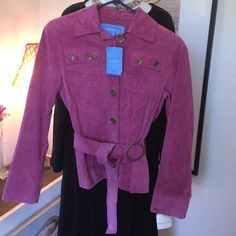 Rose colored leather lightweight belted jacket Excellent condition never worn this is a light weight rose colored leather, full button down belted jacket. Lined with two breast pockets will fit best up to a bust size of 34. Jackets & Coats Jean Jackets