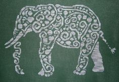 Tribal Elephant Monochromatic Cross Stitch Chart - White Willow Stitching Cross Stitch - (Powered by CubeCart)