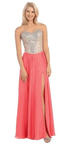 Coral Strapless Sequins Chiffon High Slits Prom Gown (3 colors XS to 3XL) #Strapless #PromDress