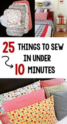 Sewing Things to Sew in Under 10 Minutes Quick and Easy Sewing Projects-These easy sewing tutorials are easy for anyone to sew.Quick and Easy Sewing Projects-These easy sewing tutorials are easy for anyone to sew. Easy Sewing Projects, Sewing Projects For Beginners, Sewing Hacks, Sewing Tutorials, Sewing Tips, Sewing Ideas, Sewing Crafts, Sewing Machine Projects, Sewing Art