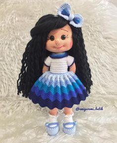 Free Amigurumi Crochet Doll Pattern and Design ideas - Knitted Doll Patterns, Crochet Doll Pattern, Knitted Dolls, Crochet Dolls, Crochet Patterns, Cute Crochet, Crochet Crafts, Crochet Baby, Crochet Projects