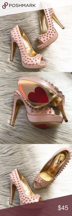 """Luichiny Nude Studded Back at Ya Platform Pumps Luichiny Nude Platform Studded Peep Toe Heels  in excellent condition! Back At Ya style. Studs on outside of shoes. 5"""" heel with a 1"""" Platform and super cute eye catching red hearts on the gold soles. All man made materials. Luichiny Shoes Platforms"""